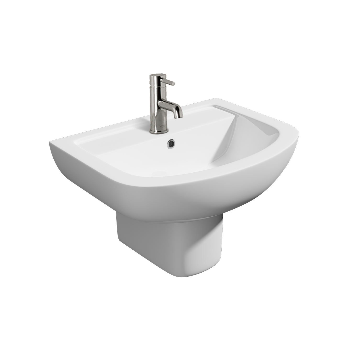 K-Vit Studio 550mm 1TH Basin & Semi-Pedestal