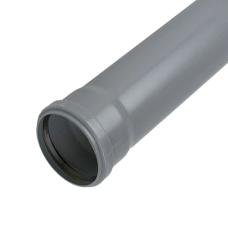 110mm Push Fit 3 metre Single Socket Pipe - Grey