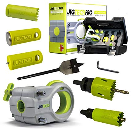 JigTechPro Installation Kit (Case Boxed) - Jig, Spade Bit, 25mm Holesaw&Arbor, 44mm Holesaw&Arbor, Keep Locator & Latch Tapper