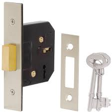 Dale 63mm 3 Lever Deadlock - Nickel Plated
