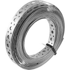 Perforated 12mm Steel Strapping Fixing Band - Roll of 10m
