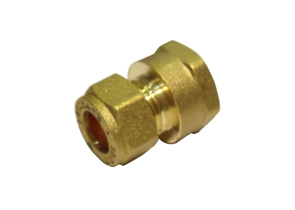 """15mm Brass Compression Straight Female Iron to 3/8"""""""