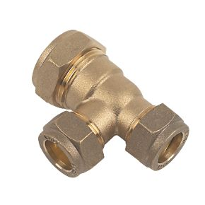 22mm Brass Compression Reducing Tee 22mm x 15mm x 15mm