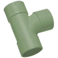 32mm Solvent Weld Waste Swept Tee - Olive Grey