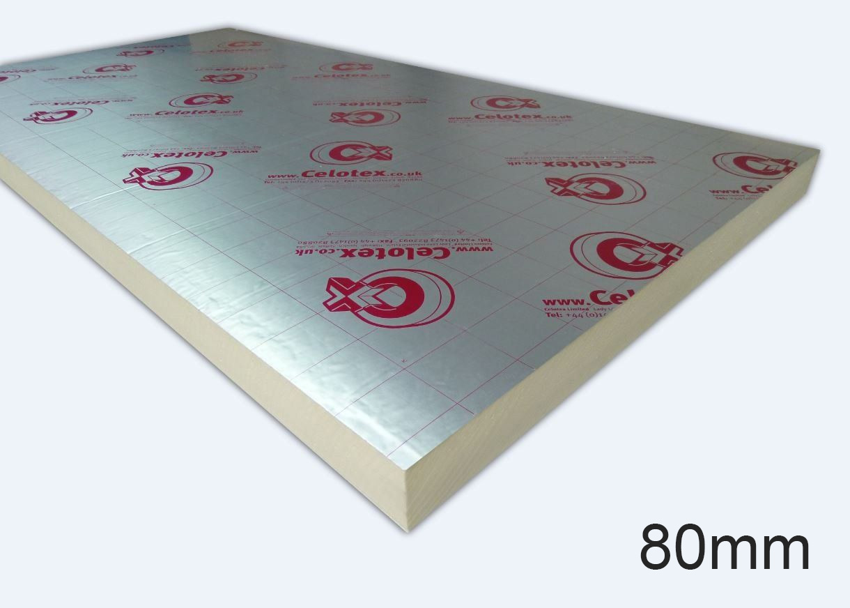 80mm GA4080 PIR Insulation Board 1200 x 2400mm