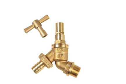 "1/2"" Brass Hose Union Bibcock Tap (w/ Removable Key / Lockshield)"