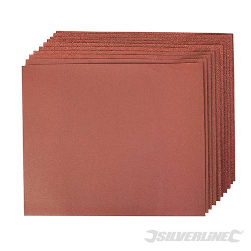 Silverline Aluminium Oxide Mixed Hand Sheets (10 Piece) - 60G/80G/120G/240G