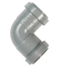 40mm Push Fit Waste 90' Knuckle Bend  - Grey