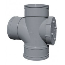 110mm Solvent Weld Triple Socket Access Branch - Olive Grey