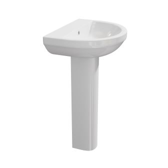 K-Vit Code 550mm 1TH Basin & Pedestal