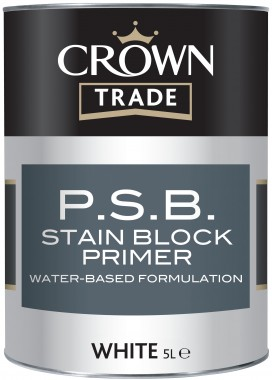Crown Trade P.S.B Stain Block Primer - White - 1L (Water Based)