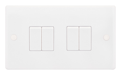 Selectric Smooth 10A Plate Light Switch [X-Rated, ATSA] - 4 Gang, 2 Way