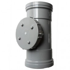 110mm Push Fit Double Socket Access Pipe - Grey