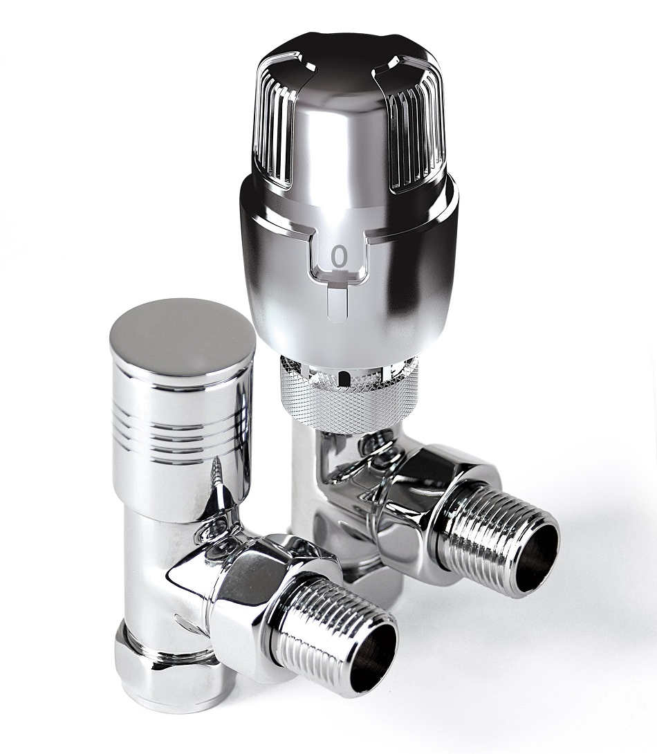 Inta i-Therm 15mm Angled High-Polished Chrome TRV Valve & Lockshield Pack
