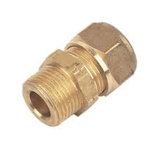 """15mm Brass Compression Straight Male Iron to 3/8"""""""
