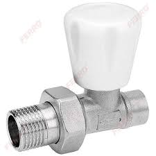 "15mm Chrome Radiator Valve Straight to 1/2"" (Nut & Olive)"