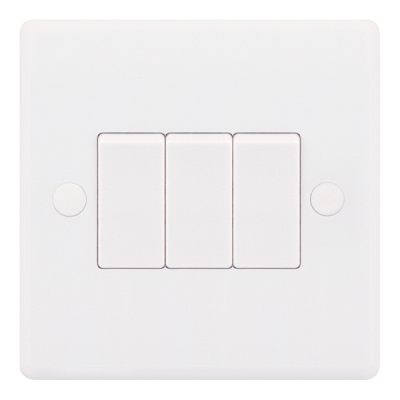 Selectric Smooth 10A Plate Light Switch [X-Rated, ATSA] - 3 Gang, 2 Way