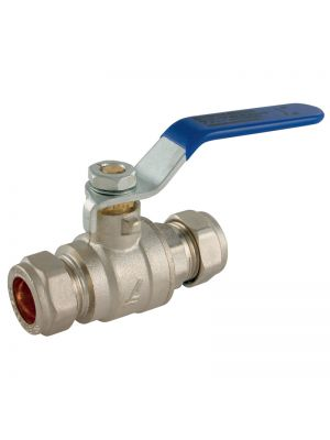 15mm Chrome Lever Ball Valve - Blue (WRAS)