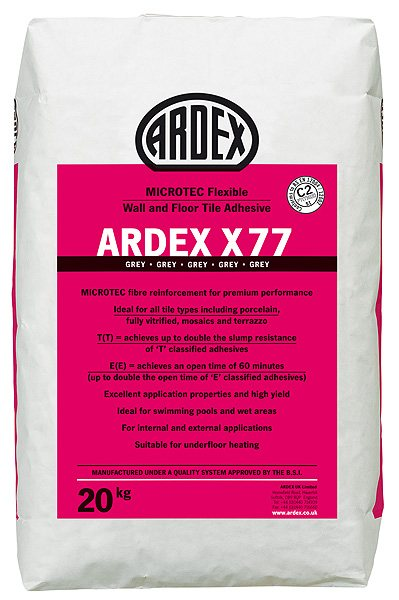 Ardex X77 Flexible Wall & Floor Tile Adhesive - Grey - 20kg