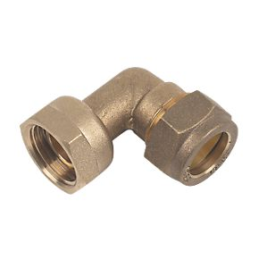 22mm Brass Compression Tap Connector Bent to 3/4""