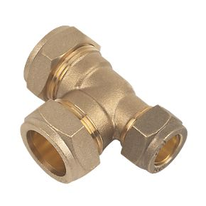 22mm Brass Compression Reducing Tee 22mm x 15mm x 22mm