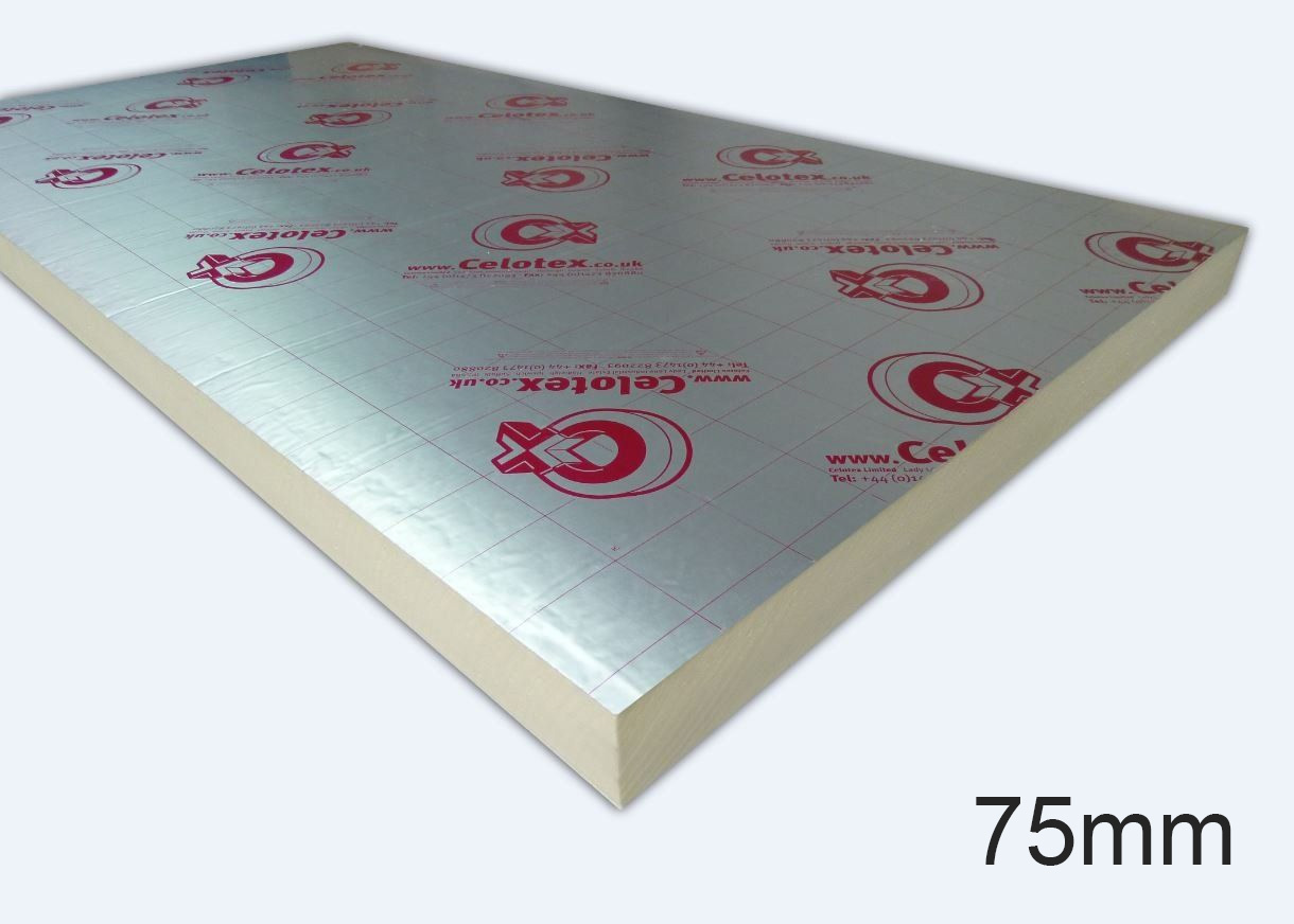 75mm GA4075 PIR Insulation Board 1200 x 2400mm