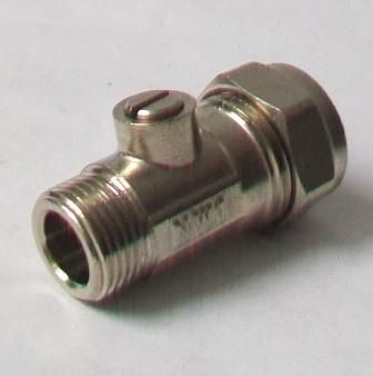 "15mm x 1/2"" Flat-Faced Chrome Compression Isolating Valve"