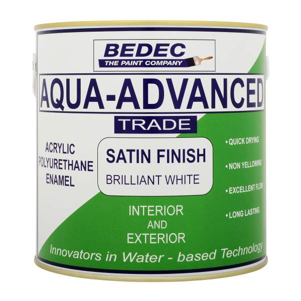 Bedec Aqua Advanced (Interior & Exterior) - Acrylic Satin Finish - 1L - Brilliant White