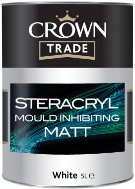 Crown Trade Stercryl Mould Inhibiting Matt Emulsion - Brilliant White - 2.5L